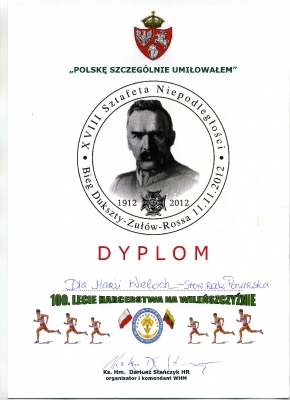 dyplom        uczestnictwa           w Sztafecie Niepodległości